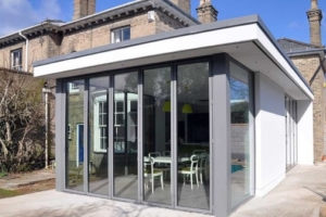 Single storey glass extension in Leeds