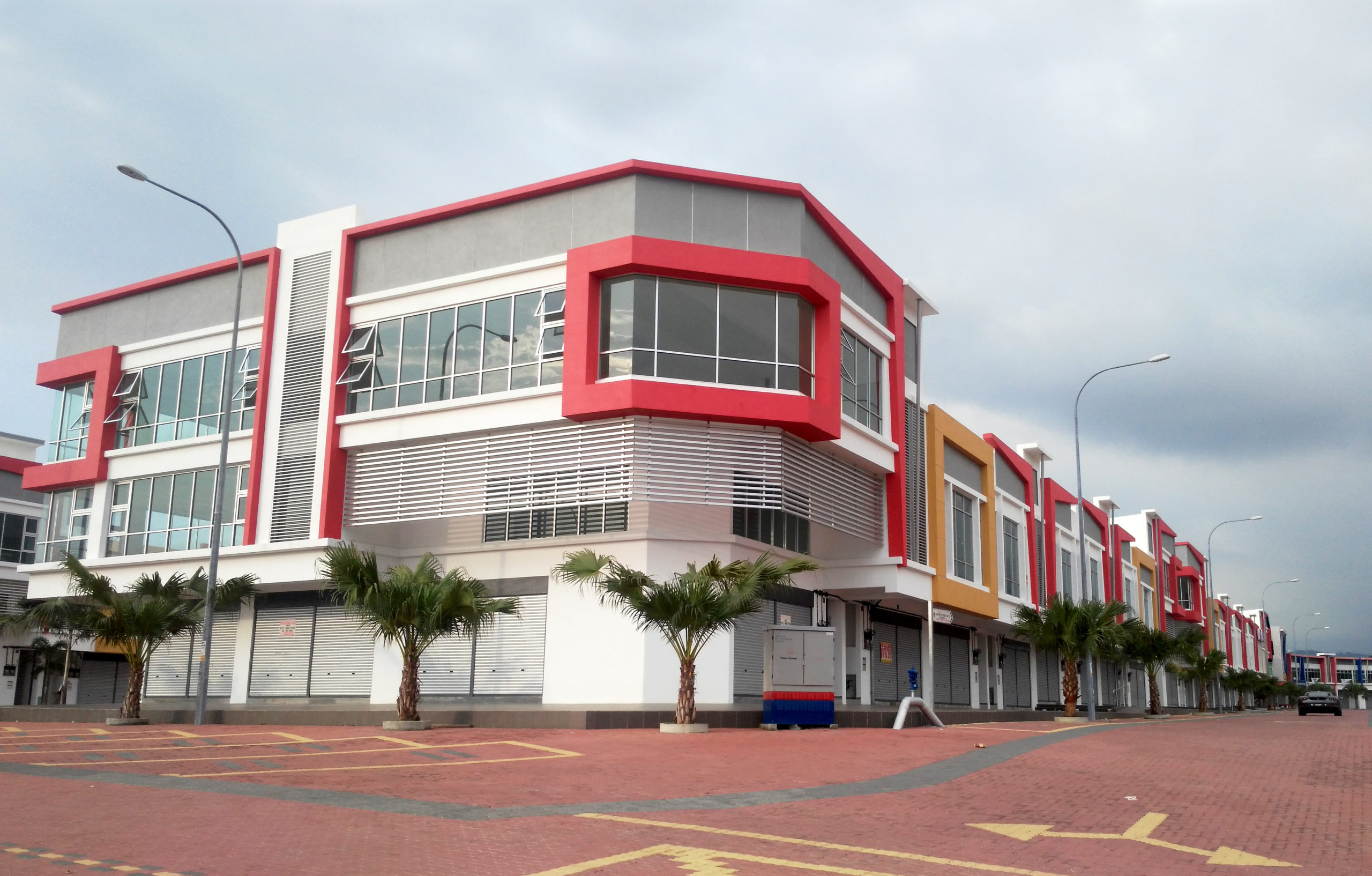 Innovative architectural design for row of business buildings