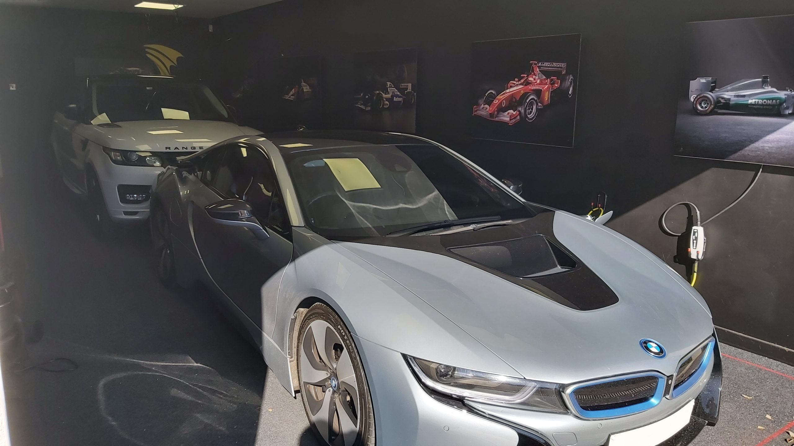 Electric car charging in garage building
