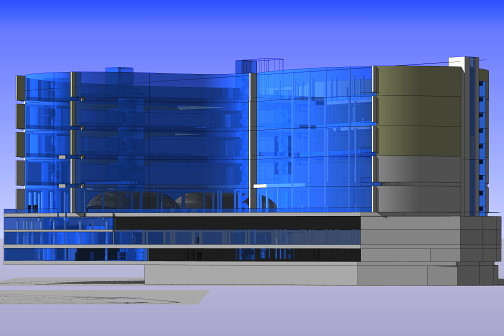 3D visualisation of large glass office structure
