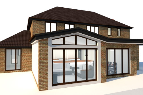 3D house visualisation with glass walls