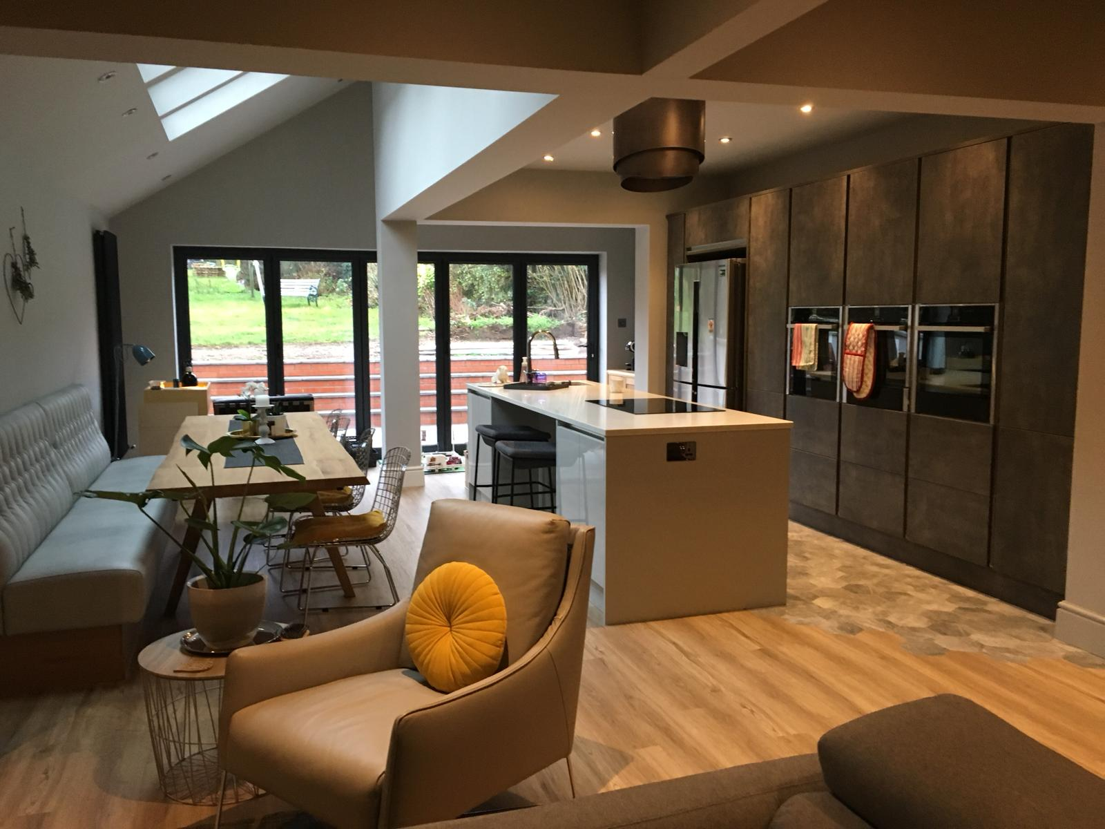 Single storey extension with built in kitchen appliances