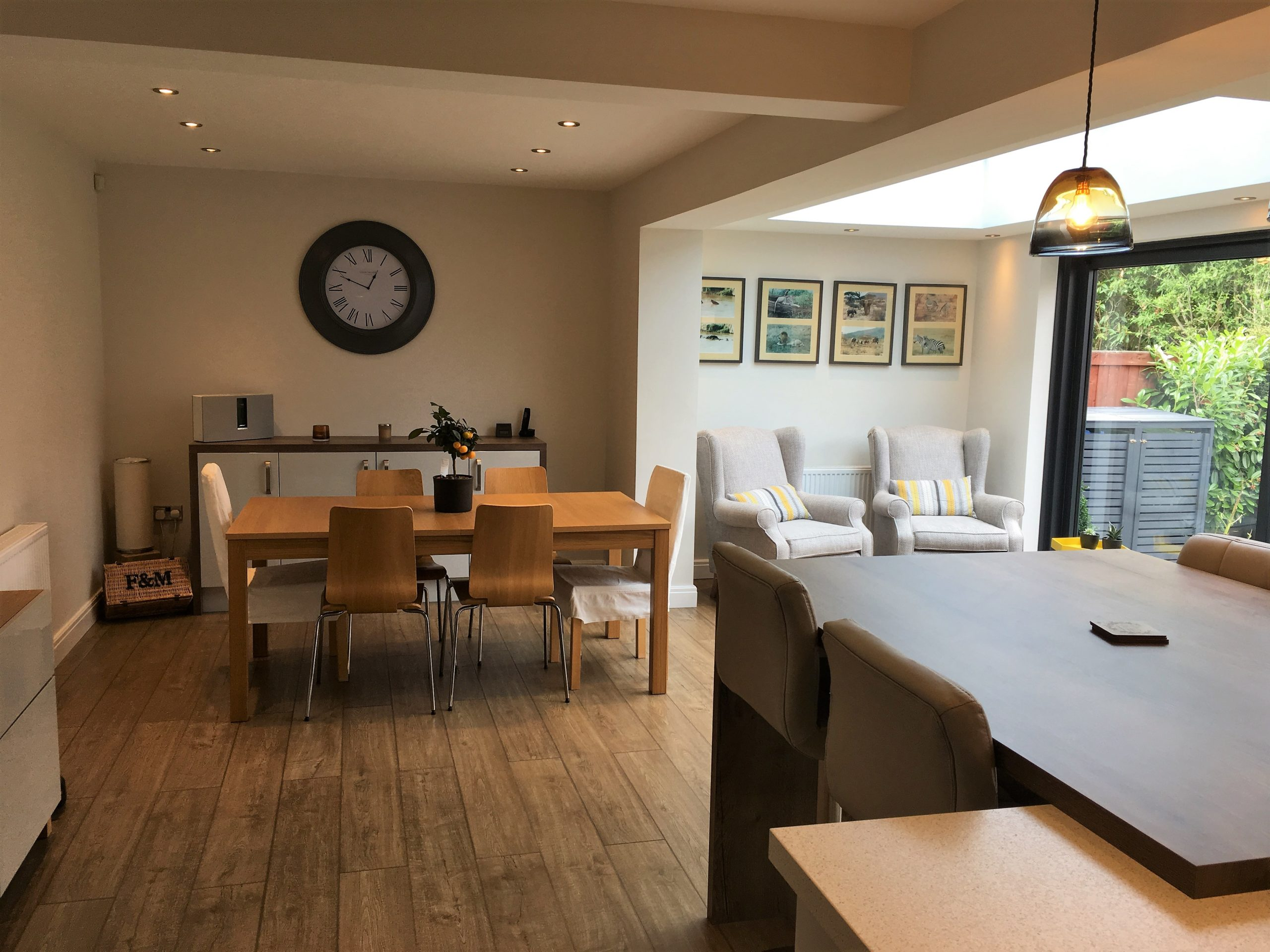 dining and living area of single storey extension