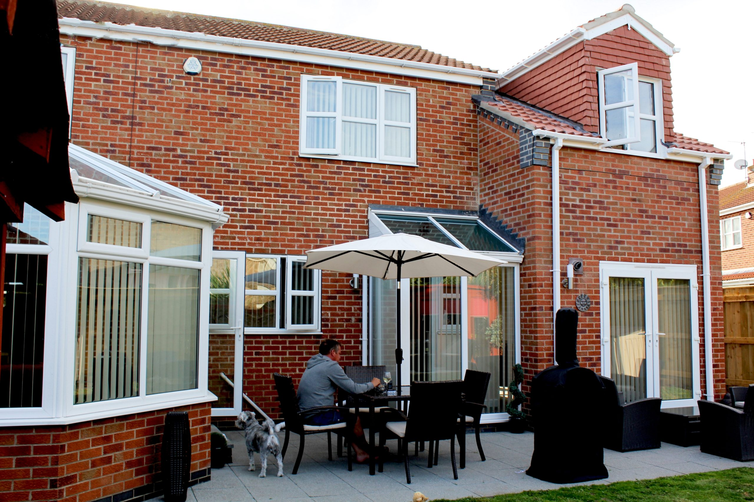 Garden view of double storey extension