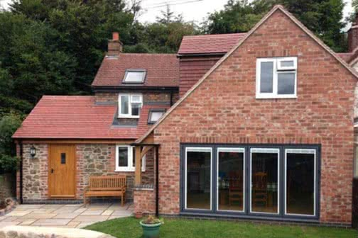 Double storey extension with large bifold doors