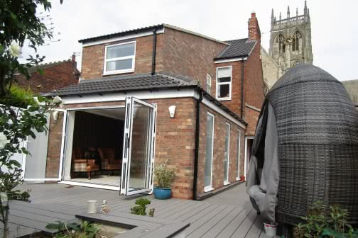Outside of a double storey house extension in Leeds