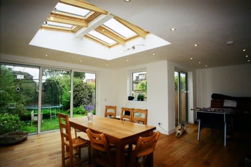 Dining area of single storey house extension in Leeds