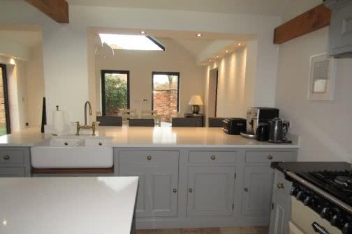 Kitchen inside single storey extension in Wakefield