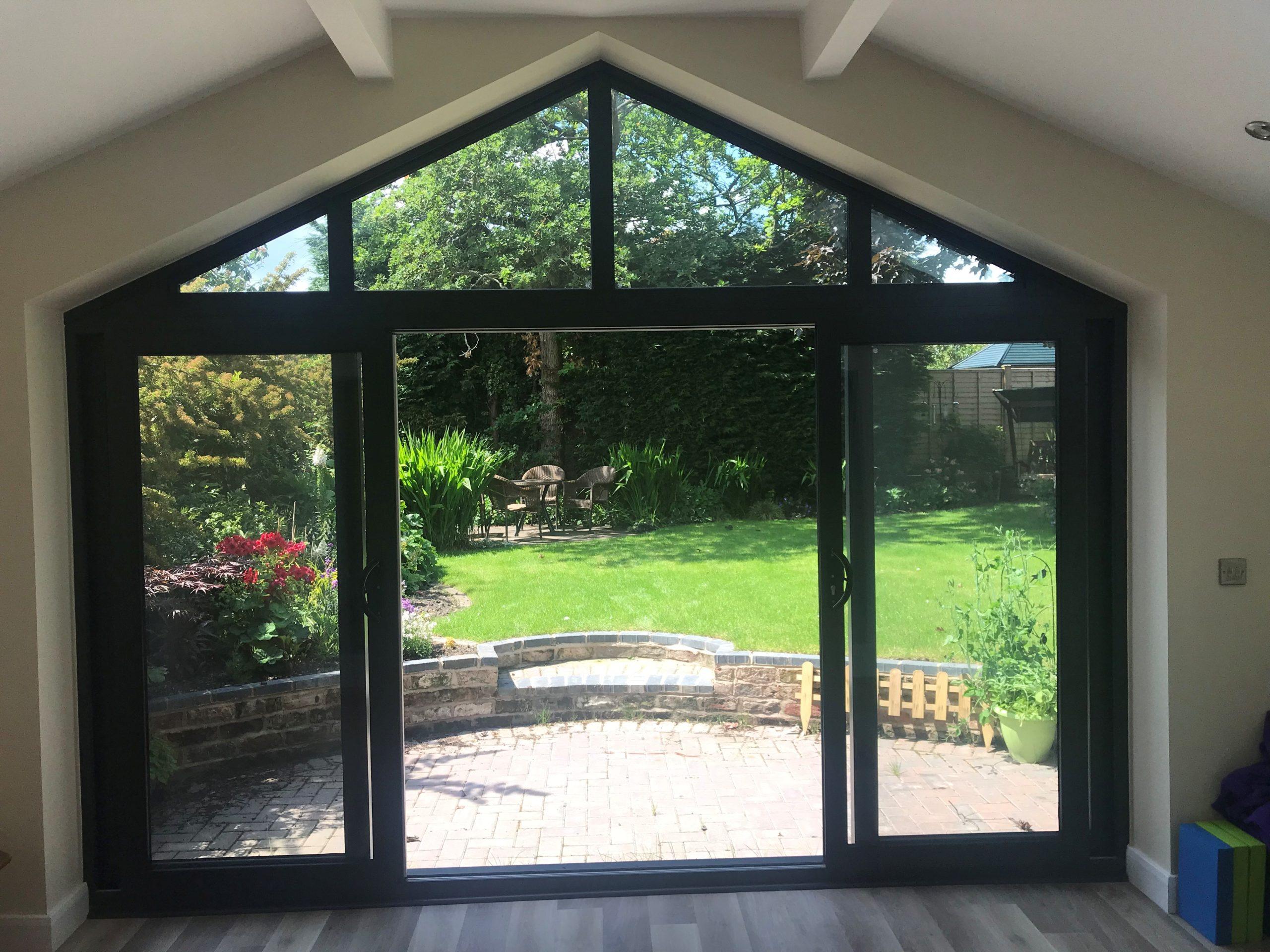 door to garage conversion overlooking garden